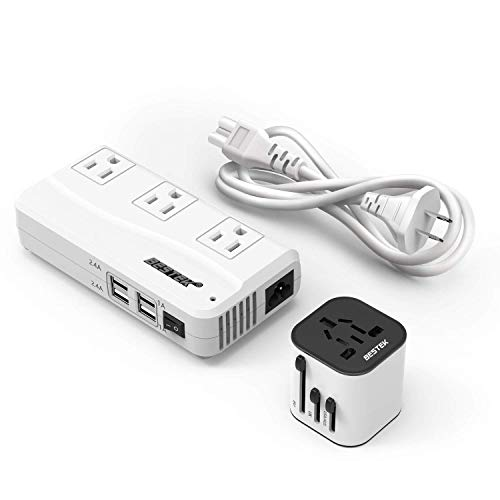 BESTEK Travel Adapter and Converter Combo, 220v to 110v Voltage Converter with All-in-one International Power Adapter - [Use for US appliances Overseas]