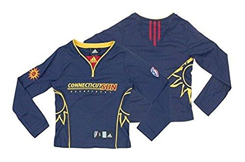 (adidas Connecticut Sun WNBA Big Girls Long Sleeve Shooting Shirt Top, Navy Blue)