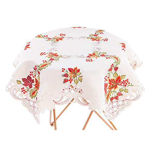 Bone & Tissue Embroidered Fall Square Tablecloth, Maple Leaves Embroidery Beige Table Covers for Balcony Afternoon Tea, Cafe & Wedding Decor, 34 x 34 Inch