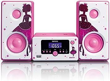 Lenco MC-020 Home Audio Mini System 10W Rosa, Blanco - Microcadena (Home Audio Mini System, Rosa, Blanco, Imagen, 10 W, FM,PLL, Azul)
