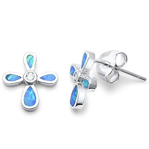 (Sterling Silver Lab Created Opal Cross Earrings Blue or White Opal Available (Lab Created Blue Opal) )