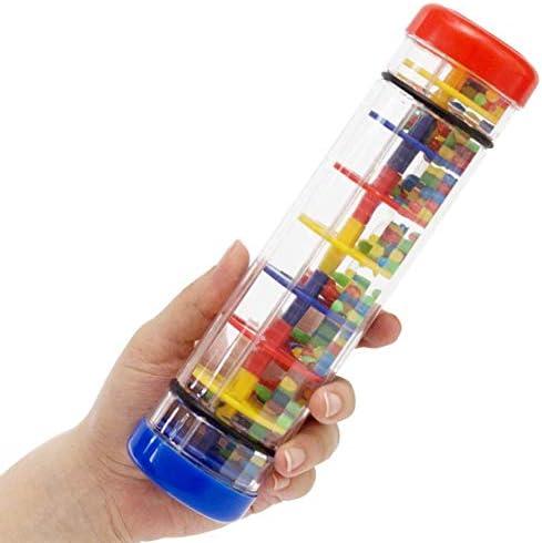 اسباب بازی Rainmaker برای آلات موسیقی کودکان و نوجوانان | Rattle Rainbow Rattle Rainbow - 8 اینچ Rainshaker اسباب بازی Twirly Whirly Whirly