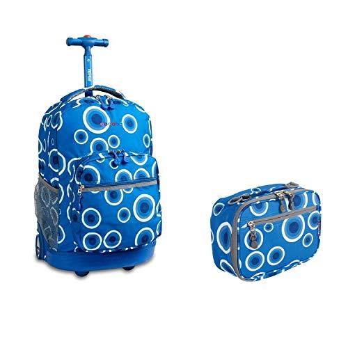 J World New York Sunrise Rolling Backpack & Corey Lunch bag Set (Sunrise w/Cody, Target Blue)