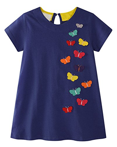 Butterfly Summer Dress - GSVIBK Kid Girl Cotton Dress Toddler Short Sleeve Dress Cartoon Cute Dress Crew-Neck Summer Dresses Butterfly 18M 691