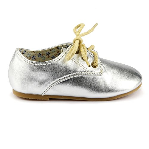 Baby Girl's Oxford Dress Sneaker Shoes Metallic Silver Toddler Size 6