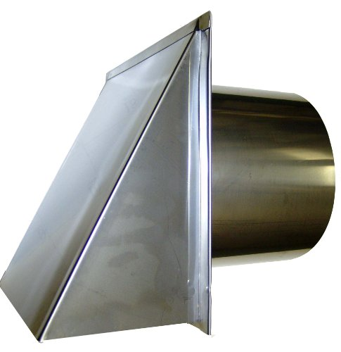 8 Inch Stainless Steel Exterior Side Wall Cap with Damper and Screen