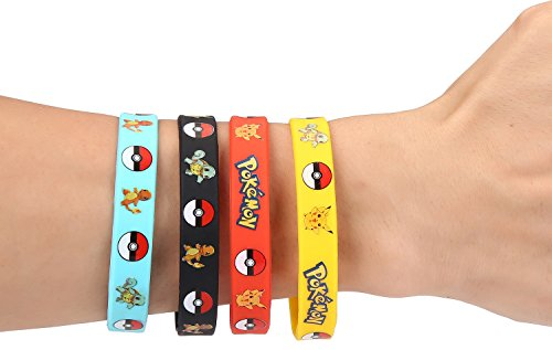 12 PCS Pokemon Rubber Bracelets Wristband -Birthday Party Favors Supplies