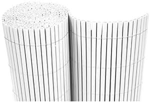 –Estera de PVC 200x 500cm Wind Protector para balcones Valla de jardín (Blanco–Tubos
