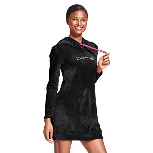 (bebe Womens Logo Hoodie Dorm Pajama Sleep Night Shirt Black Small)