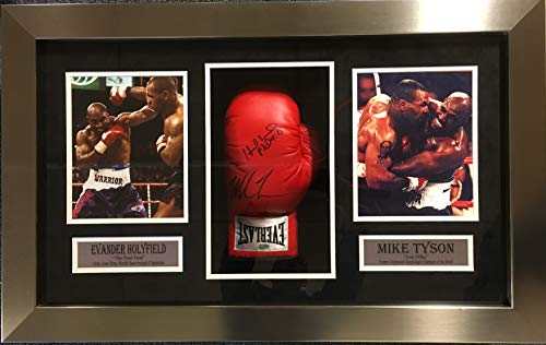 Mike Tyson Evander Holyfield DUAL Signed Autograph Boxing Glove Custom Framed Shadow Box Suede Matted Steiner Sports Certified