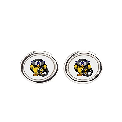 Cufflinks (Oval) Little Round Penguin - Cyclist in Yellow Jersey