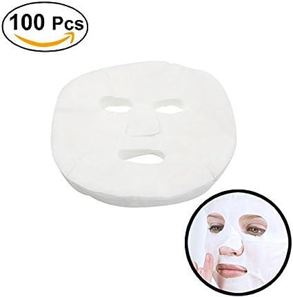 Frcolor Hoja de 100pcs Mascarilla Facial desechable blanco algodón ...