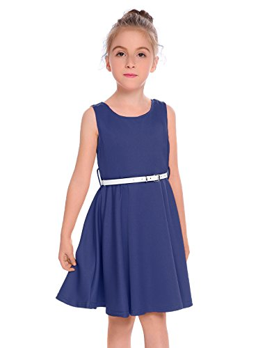 Arshiner Big Girls Solid A-Line Sleeveless Skater Red Twirly Party Dress With Belt Navy Blue 140(Age for 9-10 years) (Old Dress Blue Navy)
