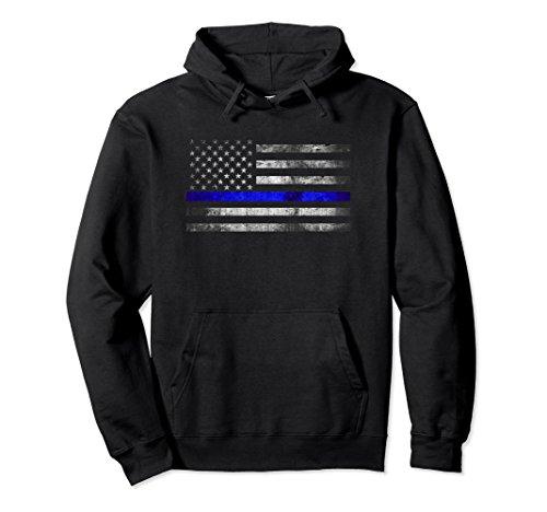 Unisex Thin Blue Line American Flag Hoodie XL Black