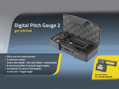 RC Logger Digital Pitch Gauge 2 with 3 Measurement Modes, Calibration Function, Rotating Display for RC Airplane Helicopter Including Portable Protection Case