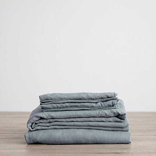 Merryfeel Luxurious 100% Pure French Linen Sheet Set - Twin - Duck Egg (Pure Linen)
