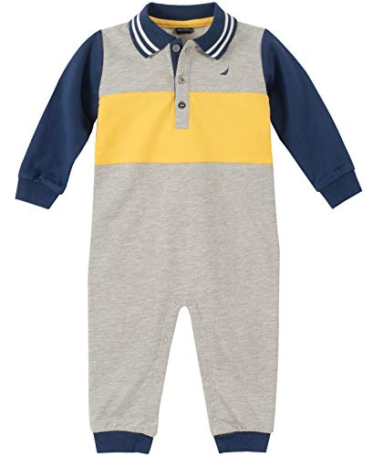 Nautica Baby Boys Coverall, Gray, 3-6 Months (Nautica Newborn Boy Clothes)