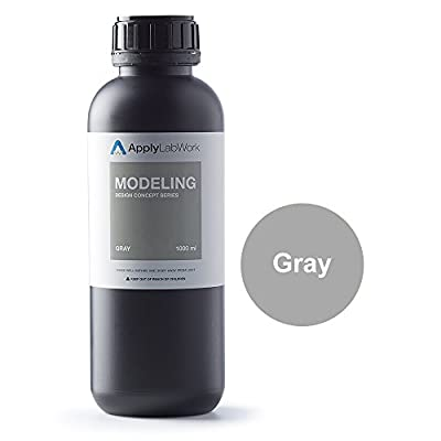 ApplyLabWork MD-R001GY Formlabs Compatible 3D Resin, Design Concept Series, Modeling SLA UV Printing Material, 1L, Gray