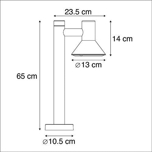 1 x 11 Watt//Garden Lighting//Lights//Lamps QAZQA Modern Modern Outdoor Pole//Bollard//Post Pole 65cm Dark Grey Humilis Aluminium//Glass Organic Form GU10 Max