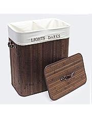 Tvättlåda av bambu, 105 l med linnepåse, brun förvaringslåda tvättkorg vikbar