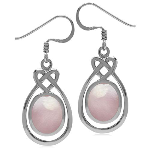 Silvershake 10X8mm Oval Shape Pink Mother of Pearl Inlay 925 Sterling Silver Celtic Heart Knot Dangle Earrings
