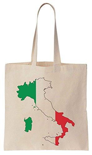 Italy Map Flag Art Sacchetto di cotone tela di canapa