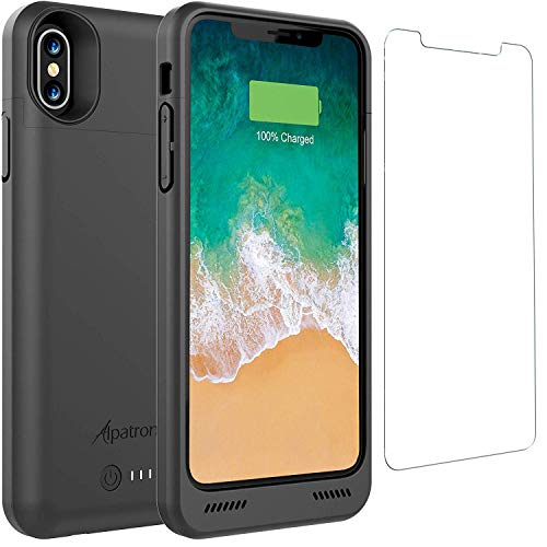 iPhone Xs/X Battery Case, Alpatronix BXX 4200mAh Qi Compatible Wireless Portable Power Bank and iPhone Xs Slim Charger, 50% Faster Charging Battery Pack, Original iPhone Lightning Chip - Black