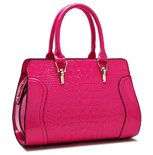 Luxury Crocodile Pattern Pu Leather bag Bride White Shoulder Bag Hot Pink