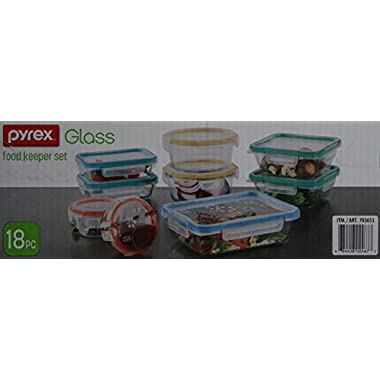 Snapware: 18PC Total Solution Pyrex Glass Food Keeper Set - Featuring Write N' Erase Lids - 18PC - 18-Piece Set