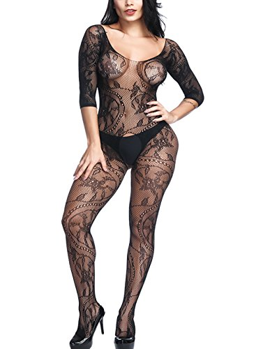 Vorifun Women Sexy Fishnet Bodystocking Crotchless Bodysuit with Sleeves 2 Colors Plus Size (Seamless Fishnet Crotchless Bodystocking)