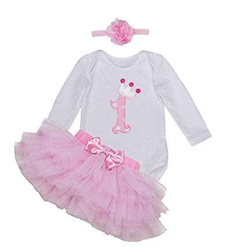 BABYPREG Outfit met lange mouwen voor babymeisjes 1e verjaardag Tutu jurk hoofdband