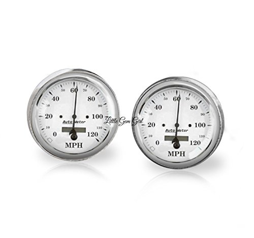Classic Antique Car Speedometer Cuff Links in 18mm Stainless Steel or 16mm Sterling Silver - Anniversary Gift or Wedding Keepsake for Groom - Hot Rod Ford Speedometer Cufflinks
