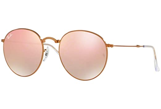9c5525839 Amazon.com: Ray-Ban RB3532 Round Folding Flash Gradient Unisex Sunglasses  (Shiny Bronze Frame/Copper Mirror Gradient Lens 198/7Y, 53): Clothing