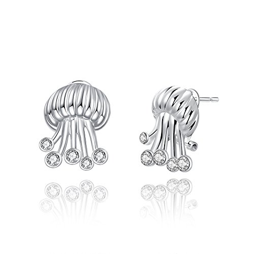 Sterling Silver Plated Earrings Jelly Fish Stud Push Back Clasp L699