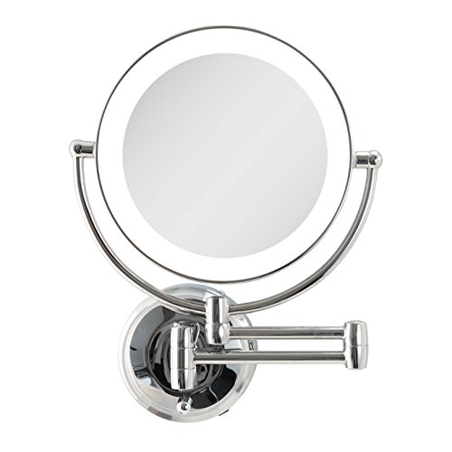 Zadro Cordless Dual LED Lighted Round Wall Mount Make Up Mirror with 1X & 5X magnification in Chrome Finish