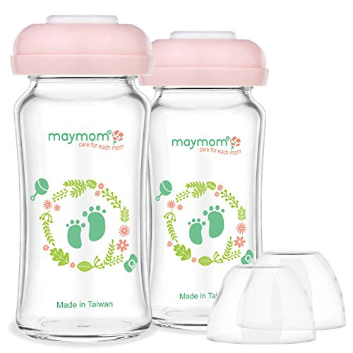 - Maymom Wide Mouth Glass Bottles with Screw Ring, Sealing Disc, Dome Cap; (240mL x2; 8 oz); No Nipple Included; Can use Avent Natural Nipple; Fits Avent Bottles;