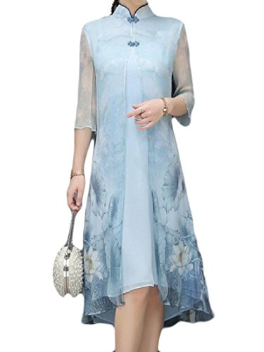 SportsX Womens Chinese Style Summer Casual Qipao Silk Sexy Midi Dress As Picture L (Chinese Chinese Dresses Dress)