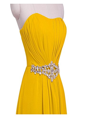 Dress Yellow with Bridesmaid Line Evening Rhinestone Gown BellyLady Strapless Long Empire SqYwv0