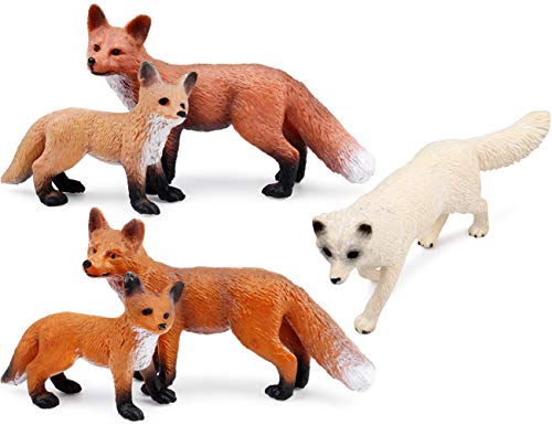 UANDME Fox Toy Figures Set Includes Arctic Fox & Red Foxes Figurines Cake Toppers