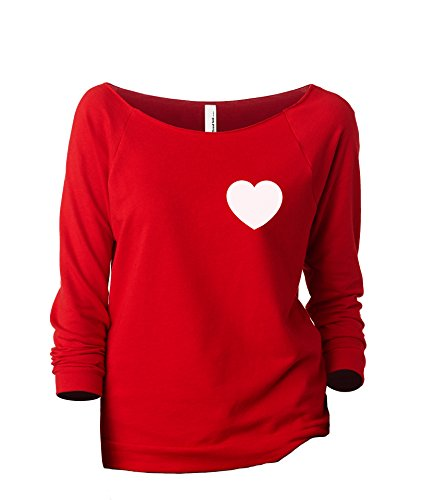 Thread Tank Small Heart Women's Slouchy 3/4 Sleeves Raglan Sweatshirt Red ()