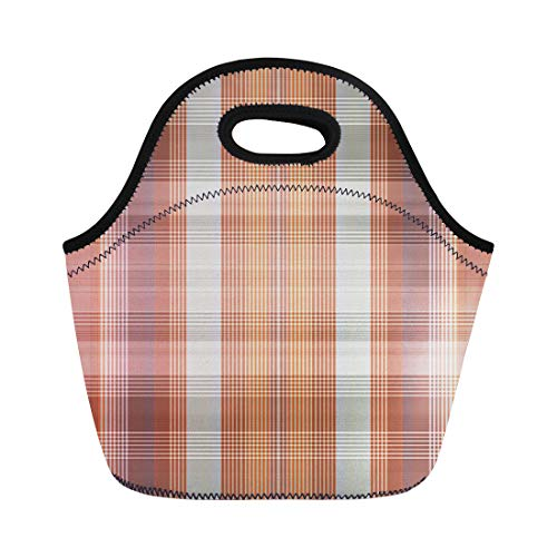 Semtomn Lunch Tote Bag Modern Abstract Brown and Orange Check Tartan Checkered Color Reusable Neoprene Insulated Thermal Outdoor Picnic Lunchbox for Men Women