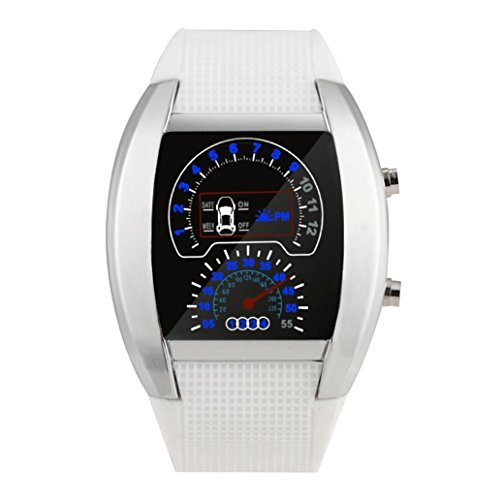 (Digital LED Approx 80g Watches,Woaills Fashion Aviation Turbo Dial Flash Watch Gift Mens Lady Sports Car Meter (white))