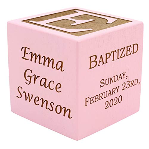 Personalized Pink Baby Baptism/Dedication/Christening Wood Block, Choose from 3 Sizes, Baptism Gift for Girl, Baby Dedication Gifts, Unique Baptism Gifts, Yazidism, Sikhism (2″ Pink)