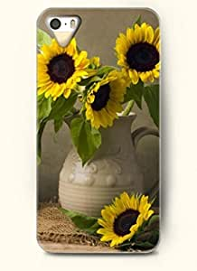 OOFIT phone case design with Sunflowers in a vase for Apple iPhone 4 4s