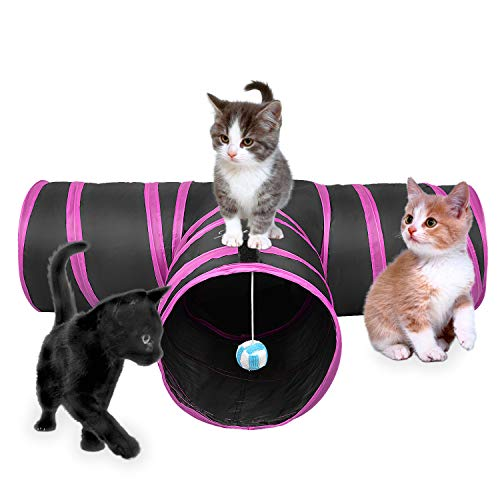 - Lauva Cat Tunnel Toy, Collapsible 3 Way Fun Run Entertained Exercising and Playing Cat Toy with Catnip Best Play House for Rabbits, Kittens, and Dogs (Pink and Black)