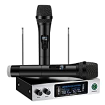 UHF Wireless Microphone System, ELEGIANT Dual Channel Handheld HiFi Wireless Microphones Karaoke Receiver Metal Professional Singing Machine for Speech Conference Outdoor KTV Home Party Wedding Church