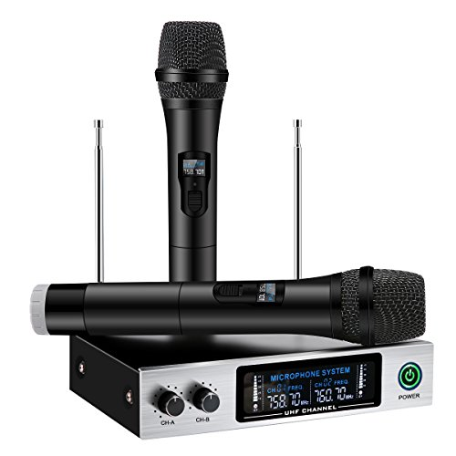 UHF Wireless Microphone System, ELEGIANT Dual Channel Handhe