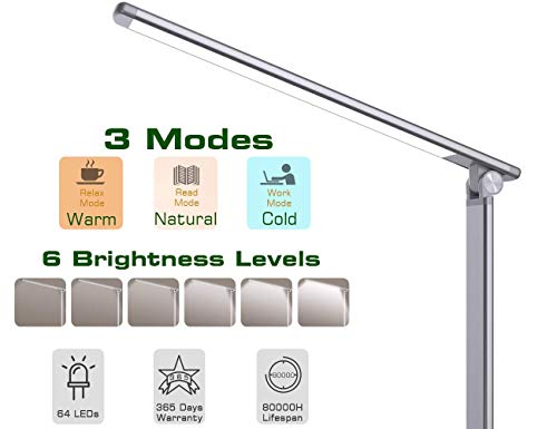NAPATEK LED Desk Lamp, Touch Control Eye Caring Desk Light 3 Color Modes 6 Brightness Levels 64 LEDs Timer Memory Function USB Port Table Light for Home Office Work Reading Study, Space Gray