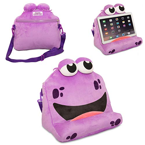 COSYHOLDER – Bailey • The Fun Tablet & e-Reader (e-Book) Holder/Stand for Kids • Ideal for Resting an iPad, Samsung Galaxy, Kindle & Some Books • Padded Accessory Pouch and Carry Strap (Purple)