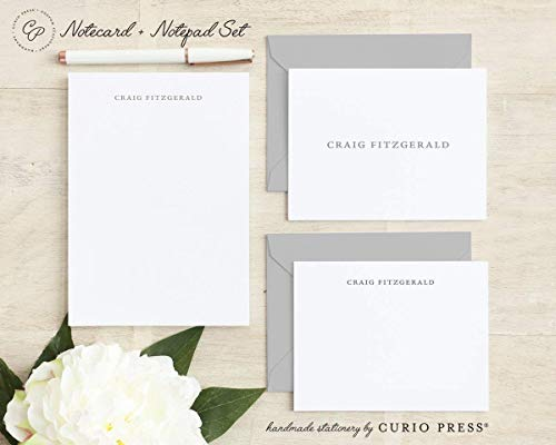 Secretary Curio - SIMPLICITY SET / 3 Piece Set/FOLDED + FLAT + PAD // Personalized Notecard and Notepad Stationery/Stationary Set